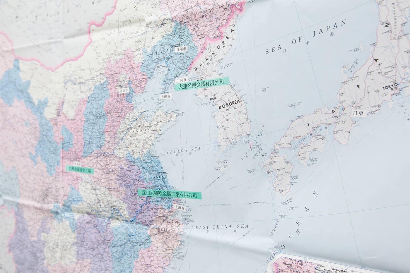 中国には大連工場ほか、複数拠点を展開。東南アジアにも生産拠点を開設しています。